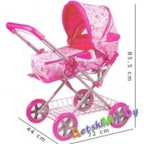 Коляска-трансформер для кукол с люлькой Foshan Melobo Toys, расцветка розовая с мишками и розовая с круглыми разводами.