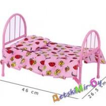 Кроватка для кукол с постельным и ПОДУШКОЙ, расцветка голубая с рисунком.