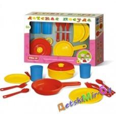 Посуда детская набор № 1, размер 40*27*7, в наборе 2 стакана, 2 ложки, 2 вилки, 2 ножа, 2 тарелки, сковорода, кастрюля с крышкой